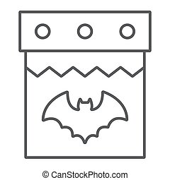 Halloween calendar thin line icon, date and holiday, 31st october sign, vector graphics, a linear pattern on a white background.