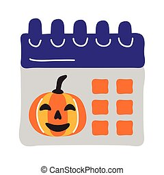 halloween calendar with pumpkin face flat style