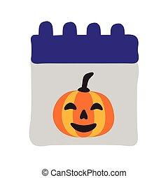 halloween calendar with pumpkin face flat style