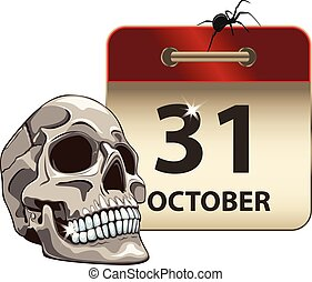 Halloween calendar with Skull