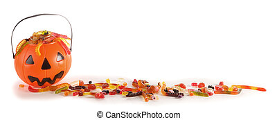 Halloween candies in Jack-O-Lantern bag