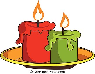 Halloween candle icon, cartoon style