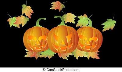 Halloween Candle Lit Carved Pumpkin - Happy Halloween...