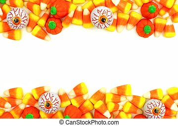 Halloween candy double border or frame against a white background