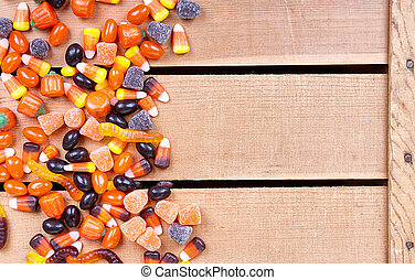 Halloween candy on a wooden crate
