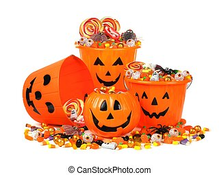 Halloween candy pails - Group of Halloween Jack o Lantern ...