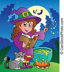 halloween, carácter, escena, 3