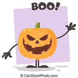 halloween, carácter, saludo, mal, ondulación, emoji, caricatura, calabaza
