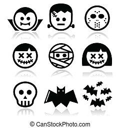 halloween, caractères, icônes