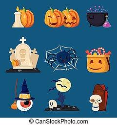 halloween, caracteres, caricatura, iconos, conjunto