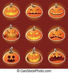 halloween, carattere, zucca, emotico