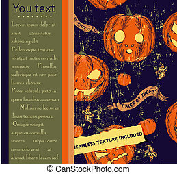 Halloween card and seamless texture with pumpkins.
