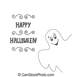 Halloween card background with Ghost. Vector illustration