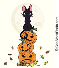 Halloween card. Black cat sitting on top of pumpkins with the moon in the background