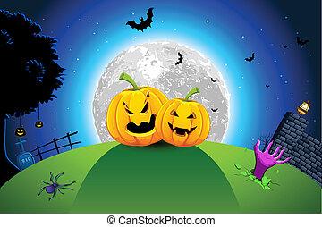Halloween Card - illustration of pumpkin in grassland in...