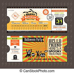 Halloween card in Train Ticket pass style design Template