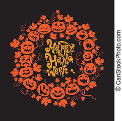 Halloween card - orange silhouette of pumpkins on black backgrou