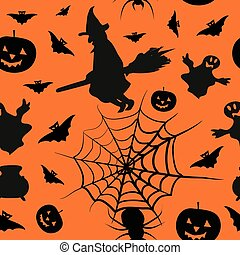 Halloween card seamless pattern background with witch,...