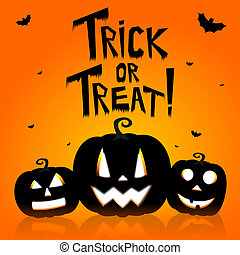 Halloween card - Trick or Treat! - Halloween card with...