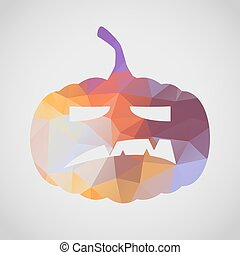 Halloween card with angry pumpkin of triangle