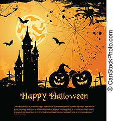 Halloween card with castle, bats and pumpkin. Vector