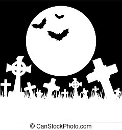 Halloween card with cemetery