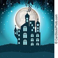 halloween card with dark castle scene
