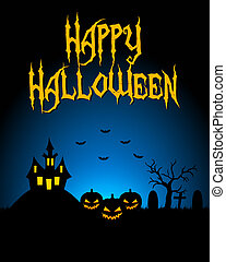 Halloween card with dark landscape