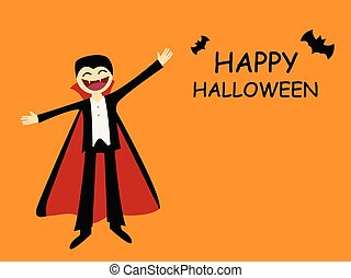 Halloween card with friendly dracula in flat