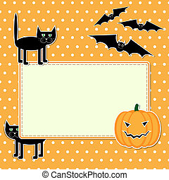 Halloween card with funny black cat