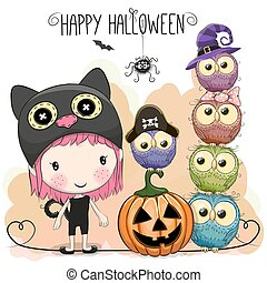 Halloween card with girl and owls