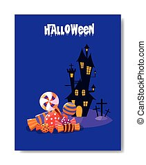 halloween card with haunted castle