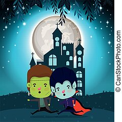 halloween card with kids costumed in dark castle scene
