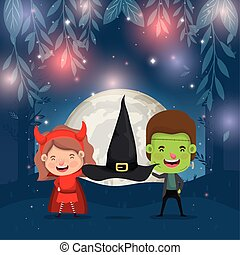 halloween card with kids costumed in dark night scene