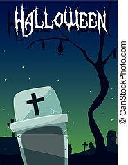 halloween card with night cemetery scene
