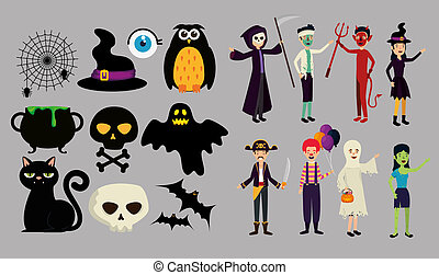halloween card with people in disguise
