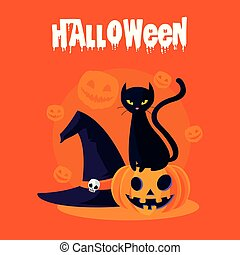 halloween card with pumpkin and cat characters