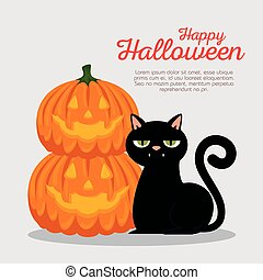halloween card with pumpkin and cat