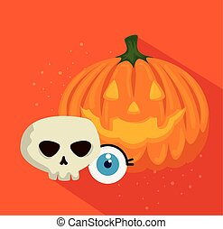 halloween card with pumpkin and skull