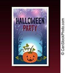 halloween card with pumpkin in dark night scene