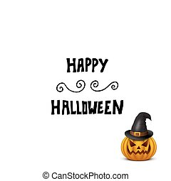 Halloween card with pumpkin in hat isolated on white.