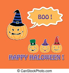 Halloween card with pumpkins in hats