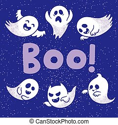 Halloween card with scary white ghosts