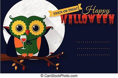 Halloween card with vampire owl.