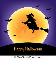 Halloween  card with witch,  bats  and moon.