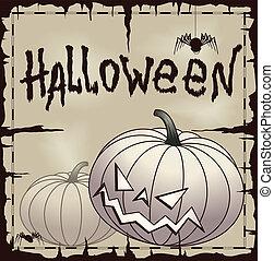 Halloween card wtih pumpkin over old paper