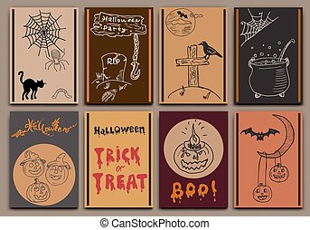 Halloween cards baners design set