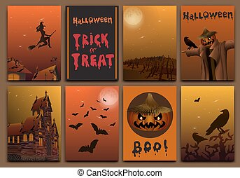 Halloween cards baners design