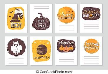 halloween cards set vector illustration for your design eps10