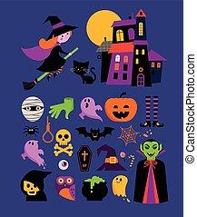 halloween, carino, vettore, icona, set